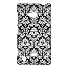 White On Black Damask Nokia Lumia 720 Hardshell Case