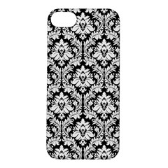White On Black Damask Apple iPhone 5S Hardshell Case