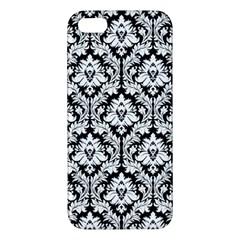 White On Black Damask Iphone 5s Premium Hardshell Case