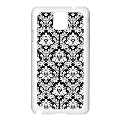 White On Black Damask Samsung Galaxy Note 3 N9005 Case (white)