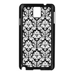 White On Black Damask Samsung Galaxy Note 3 N9005 Case (Black) Front