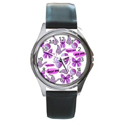 Invisible Illness Collage Round Leather Watch (Silver Rim)