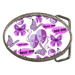 Invisible Illness Collage Belt Buckle (Oval)