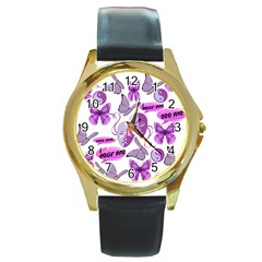 Invisible Illness Collage Round Leather Watch (Gold Rim)