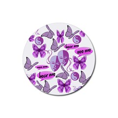 Invisible Illness Collage Drink Coasters 4 Pack (Round)