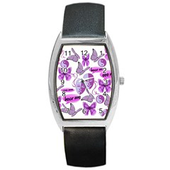 Invisible Illness Collage Tonneau Leather Watch