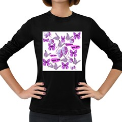 Invisible Illness Collage Women s Long Sleeve T-shirt (Dark Colored)
