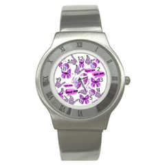 Invisible Illness Collage Stainless Steel Watch (Slim)