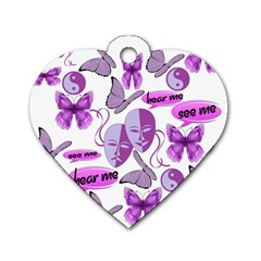 Invisible Illness Collage Dog Tag Heart (One Sided)