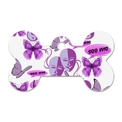 Invisible Illness Collage Dog Tag Bone (One Sided)