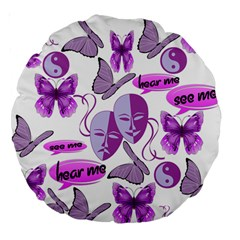 Invisible Illness Collage 18  Premium Round Cushion