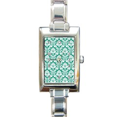 White On Emerald Green Damask Rectangular Italian Charm Watch