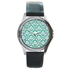 White On Emerald Green Damask Round Leather Watch (Silver Rim)