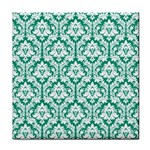 White On Emerald Green Damask Ceramic Tile Front