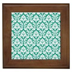 White On Emerald Green Damask Framed Ceramic Tile