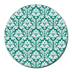 White On Emerald Green Damask 8  Mouse Pad (Round)