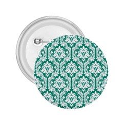 White On Emerald Green Damask 2 25  Button