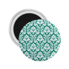 White On Emerald Green Damask 2.25  Button Magnet