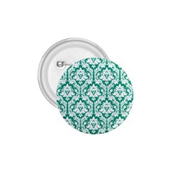 White On Emerald Green Damask 1.75  Button