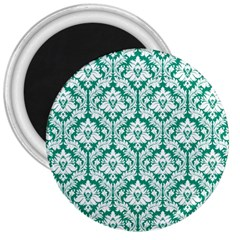 White On Emerald Green Damask 3  Button Magnet