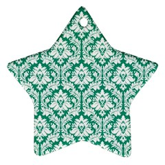 White On Emerald Green Damask Star Ornament