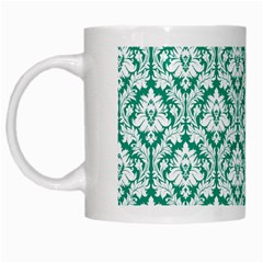 White On Emerald Green Damask White Coffee Mug