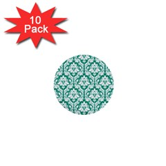 White On Emerald Green Damask 1  Mini Button (10 pack)