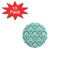 White On Emerald Green Damask 1  Mini Button Magnet (10 pack)
