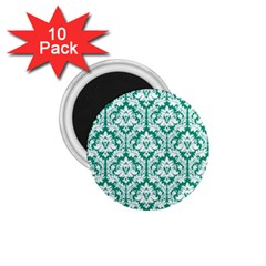 White On Emerald Green Damask 1.75  Button Magnet (10 pack)