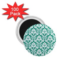 White On Emerald Green Damask 1 75  Button Magnet (100 Pack)
