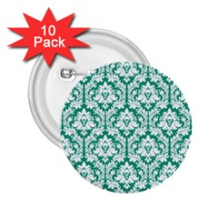 White On Emerald Green Damask 2.25  Button (10 pack)