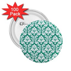 White On Emerald Green Damask 2.25  Button (100 pack)