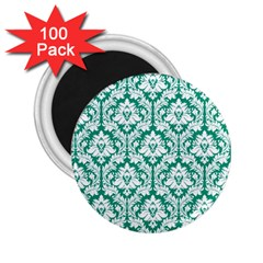 White On Emerald Green Damask 2.25  Button Magnet (100 pack)