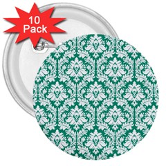 White On Emerald Green Damask 3  Button (10 pack)