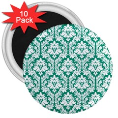 White On Emerald Green Damask 3  Button Magnet (10 pack)