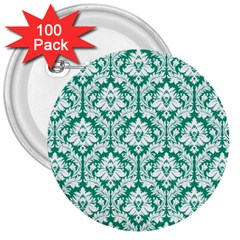 White On Emerald Green Damask 3  Button (100 pack)
