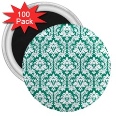 White On Emerald Green Damask 3  Button Magnet (100 pack)