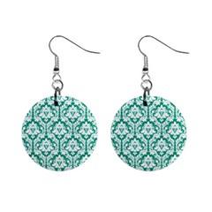Emerald Green Damask Pattern 1  Button Earrings