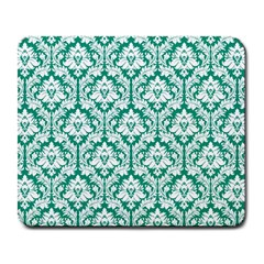 White On Emerald Green Damask Large Mouse Pad (Rectangle)