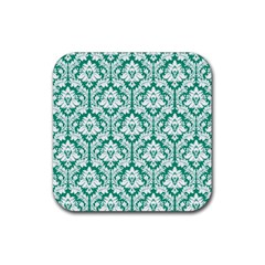 White On Emerald Green Damask Drink Coasters 4 Pack (Square)