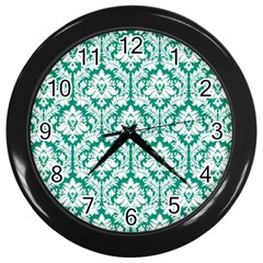 White On Emerald Green Damask Wall Clock (black)