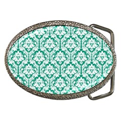 White On Emerald Green Damask Belt Buckle (Oval)