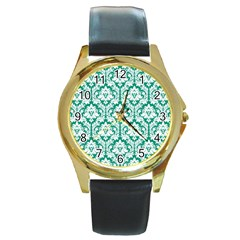 White On Emerald Green Damask Round Leather Watch (gold Rim)
