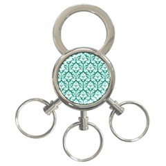 White On Emerald Green Damask 3 Ring Key Chain