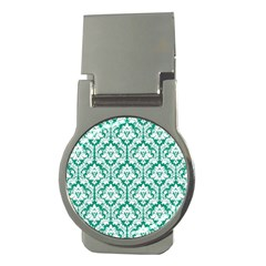White On Emerald Green Damask Money Clip (round)