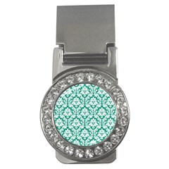 White On Emerald Green Damask Money Clip (CZ)