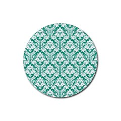 White On Emerald Green Damask Drink Coaster (Round)