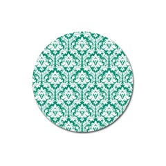 White On Emerald Green Damask Magnet 3  (Round)