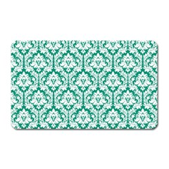 White On Emerald Green Damask Magnet (Rectangular)