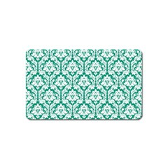 White On Emerald Green Damask Magnet (Name Card)